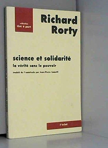 Science et solidarité par Richard Rorty