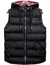 Elecenty Giacche da uomo Giacca invernale da uomo in cotone imbottito con  cappuccio caldo giacca gilet d258879c889