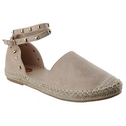 Femmes plat bride cheville émaillé Neuf femme été espadrilles sandales chaussures pointure couleur chair beige faux cuir suédé / rock clou