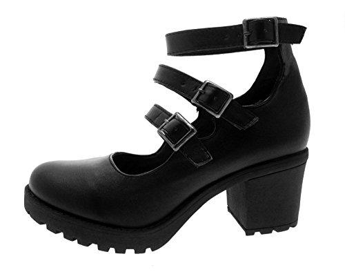 Kids Girls Mary Jane Block Heel Platforms School Smart Party Childrens Womens Ladies Strappy Shoes Size UK 1