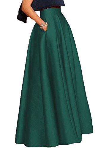 Izanoy Damen Satin Lange Röcke Hochzeit Brautjungfer Kleider Smaragdgrün X-Large