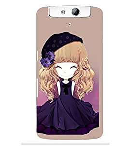 Printvisa Animated Girl With Blue Dress And Flowers In Hair Back Case Cover for Oppo N1