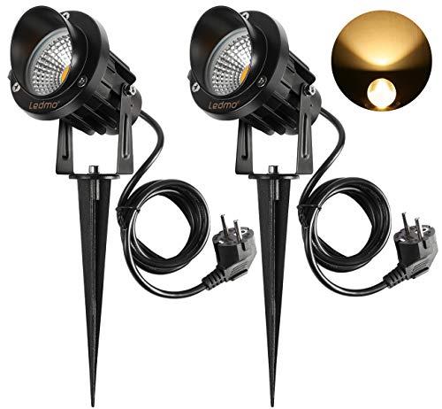 3300-lampe (LED Gartenleuchte mit Erdspieß,LED Gartenlampe 2 Stücke 9W Warmweiß 3000-3300K 900LM led strahler außen IP65)