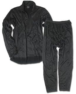 Unterwäsche Set Thermofleece mit Reißverschluss schwarz
