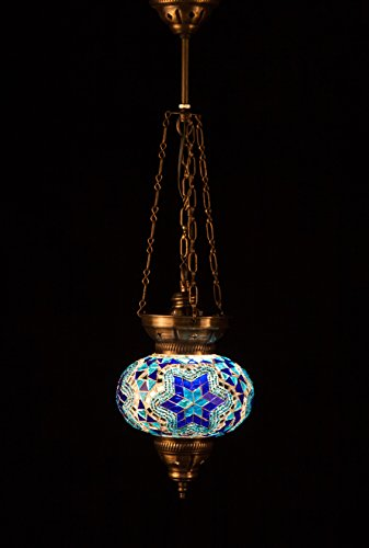 Oval Large Mosaic Hanging Lamp - Blue