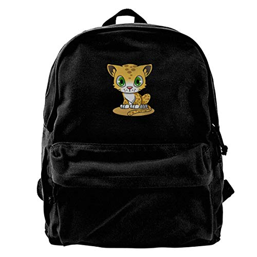 Green Tiger-print (Rucksäcke, Daypacks,Taschen, Classic Canvas Backpack Green Eyed Tiger Unique Print Style,Fits 14 Inch Laptop,Durable,Black)