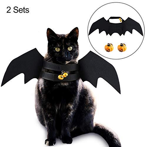 6 Stück Halloween Haustier Fledermaus Kostüm Flügel Kürbis Glocken Hund Katze Halloween Cosplay Kostüm für Halloween Haustier Bekleidung Kostüm - Fledermaus Flügel Kostüm Zubehör