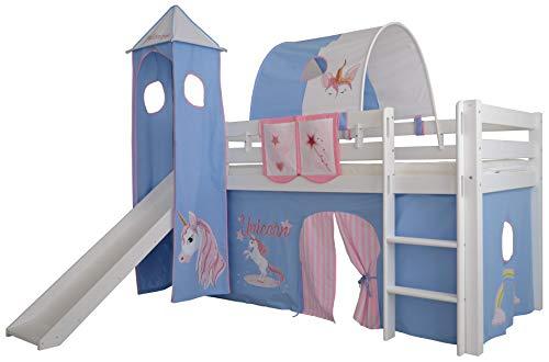 Hochbett für Kinder, Halbhochbett, Kinderbett 90 x 200