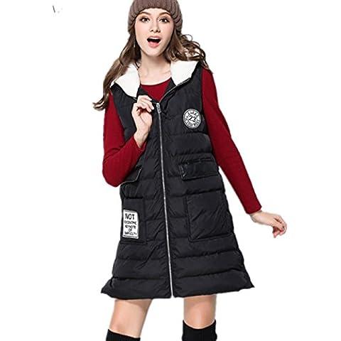 XYXY Cazadora con cremallera para mujer delantera acolchada acolchada chaqueta con capucha . black . xxxl