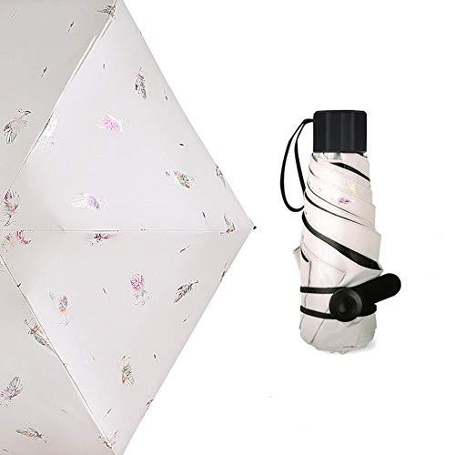 Dianhai Folding Umbrella - Schwarzer Kunststoff-Anti-UV-Sonnenschirm - Ultraleichter kleiner Sonnenschutz mit Doppeltem Verwendungszweck in Sunny And Rain für weibliche Frauen