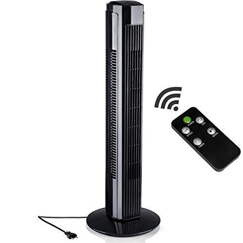 AERSON Turmventilator 80cm Schwarz | Säulenventilator | Towerventilator | Standventilator | Oszillationsfunktion | Timerfunktion | 59,8 dB(A) max