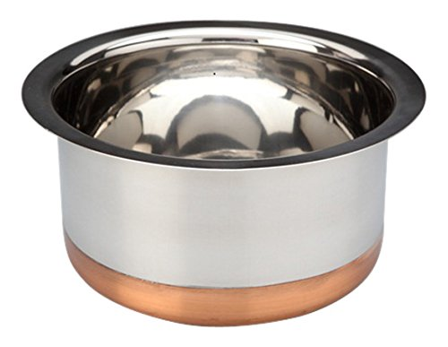 Bhalaria Copper Bottom Stainless Steel Tope, 1000 Ml