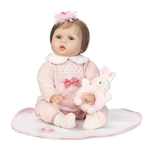 Nicery Reborn Baby Doll souple Simulation Silicone Vinyle 55,9cm 48-55cm enfant ami magnétique Bouche réaliste un garçon fille jouet avec robes pour Thanksgiving Black Friday Pull de Noël Jour