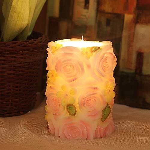HBLWX Rose Flower Flammenlose Kerzen Säule, LED Rose Kerzen Fernbedienung mit Timer Valentinstag Dekoration & Festivalpartys Flackernder Farbwechsel,Pink -