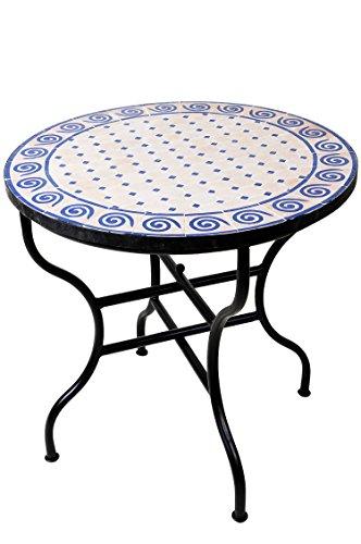 ORIGINAL Marokkanischer Mosaiktisch Gartentisch ø 80cm Groß rund klappbar | Runder klappbarer Mosaik Esstisch Mediterran | als Klapptisch für Balkon oder Garten | Spirale Natur Blau 80cm
