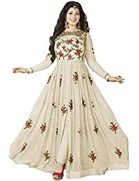 Ethnic Wings Women Georgette Anarkali Semi-Stitched Salwar Suit (EW& ET_ER10216_Off White_Free Size)