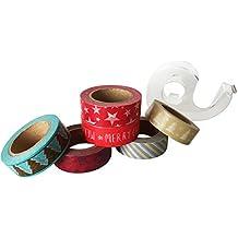"""Jumbo Washi-Tape Set Xmas - Washi-Tape-Set """"Weihnachten"""", 6 Rollen x je 10 m inkl. 1 x praktischer Abroller - insgesamt 60 m Washi-Tape!! …"""