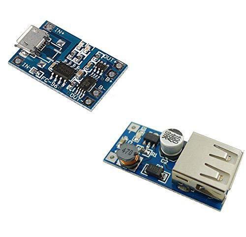 Aihasd Mikro USB 5V 1A 18650 Lithium Batterie Ladegerät Schutz Modul + DC-DC 0,9V-5V zu 5V USB Spannungsumwandler Step Up-Boost-Module