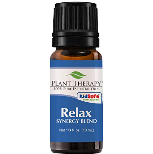 Relax Synergy (Mental Relaxation) Essential Oil Blend. 10 ml. 100% Pure, Undiluted, Therapeutic Grade. (Blend of: Lavender, Marjoram, Patchouli, Mandarin, Geranium and Chamomile) by Plant Therapy Essential Oils