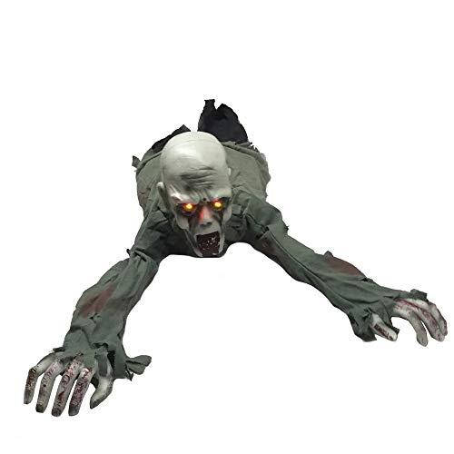 ERQINGZS Halloween-Dekoration Animierte Krabbeln Zombie 12In X 43In Rote Augen Scary Sound Und Umzug Für Halloween-Dekorationen
