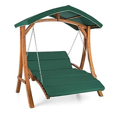 Blumfeldt Aruba Hollywoodschaukel Gartenschaukel (2-Sitzer, 130 cm breite Sitzfläche, 4 cm dicke Polsterung, wasserabweisendes Sonnendach, Holzteile lasiert) grün