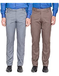 American-Elm Men's Light Grey, Light Brown Colour Formal Trousers- Pack Of 2