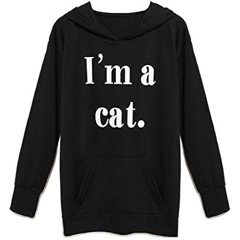Choies mujer sudadera con capucha estampado de letras adornado de oreja de gato linda