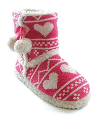 WOMENS SLIPPER BOOTS BOOTIES LADIES GIRLS WARM SLIPPERS FAUX FUR PINK HEARTS GIFT SIZE UK 7-8