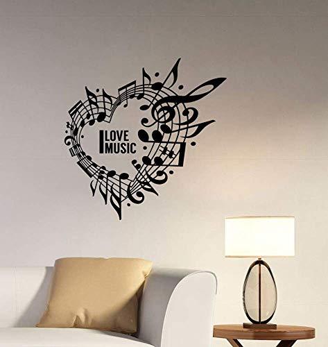 Ysa adesivo murale i love music cuore applique da parete note di musica adesivi chiave di violino musica logo home room art deco decor 42 * 42cm