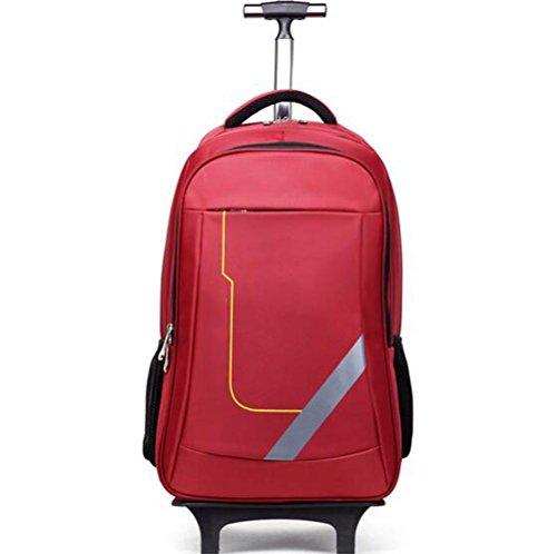 Handgepäck Trolley-Tasche Leicht Reiserucksack Entfernbar Hebel Rucksack,red (Rollende Computer Tasche)