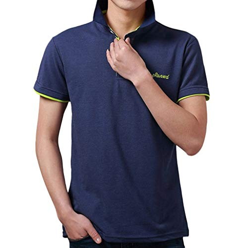 Tyoby Sommer Herren Poloshirt Kurzarm Basic T-Shirt Freizeit Briefdruck spleißen Polohemd(C,XL)