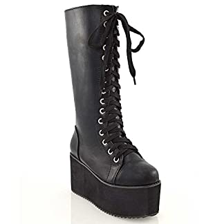 ESSEX GLAM Ladies Knee High Platform Wedge Womens Platform Lace Up Biker Boots Size 3 4 5 6 7 8 7