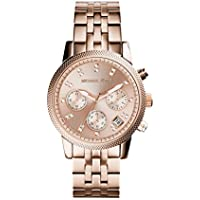 Michael Kors Ritz Rose Gold Tone Crystal Chronograph Womens Watch