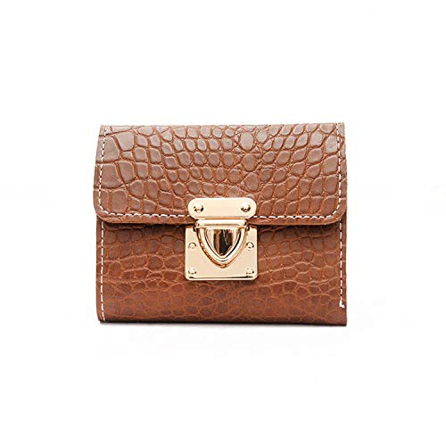 Fyyzg Ladies Short Wallet Japan und Südkorea Locken Soft Mini-Brown -