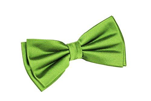 Sir Alex Herren Fliege grün uni vorgebunden aus reiner Seide in edler Geschenkbox. Schleife hand made zum Hemd, Anzug, legeren Outfit oder als Kombination (Grün)