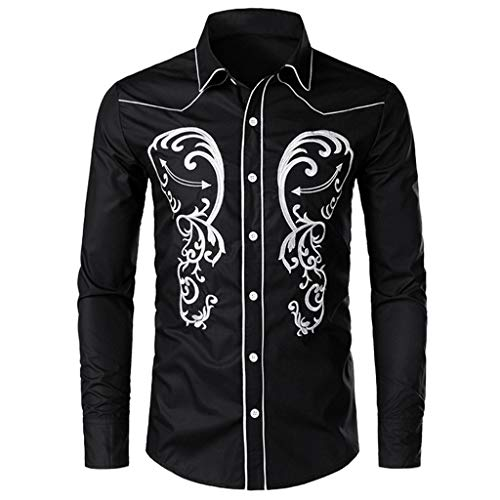 BHYDRY Herren Herbst und Winter bestickte Nähte Langarm Shirt Top (Medium,Schwarz) -