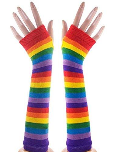 Jelinda Unisex Gothic Rock Colorful Rainbow Stripes Long Arm Warmer Fingerless Gloves