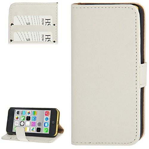 nlichkeits-Fall Crazy Horse Textur Ledertasche mit Kreditkarten Slot & Halter für iPhone 5C (Farbe : Weiß) ()