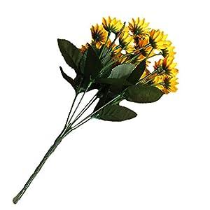 gzzebo 1 Bouquet 15 Cabezas 7 Ramas Seda Artificial Planta de Girasol Oficina en casa Decoración para Fiestas Accesorios de Fotos Amarillo
