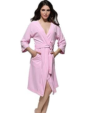 DMMSS Camicie da notte V donna - collo cotone pigiama Home servizio di Accappatoio , l , pink