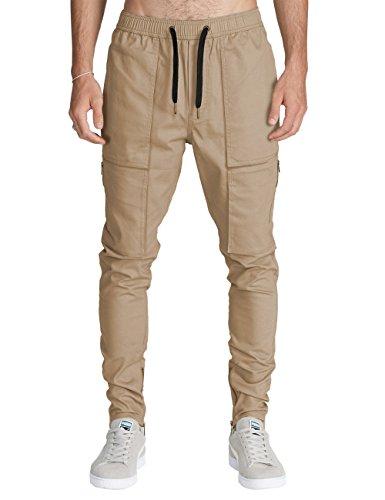Italy Morn Harem Pantalones De Cargo Hombre Deporte Chinos Pantalon Skinny Joggers Casual Algodon Negro (S, Caqui)