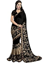 GiniGold Women's Faux Georgette Printed Saree With Blouse Piece - NF-34814_Black_Free Size