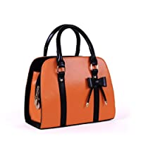 Finejo Ladies Candy Color Bowknot Shoulder Bag Handbag Orange