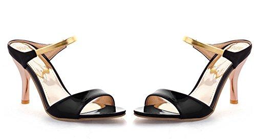 Aisun Femme Nouvelle Bout Ouvert Slip On Sandales Noir