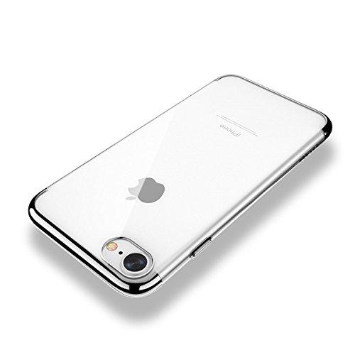 SMART LEGEND iPhone 7 Weiche Silikon Hülle TPU Bumper Transparent Handyhülle Durchsichtig Schutzhülle Backcover Crystal Kirstall Clear Etui Glatt Weich Handytasche Full Body Protective Soft Case Silic Silber und Weiß