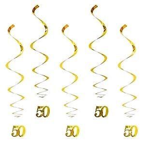 Oblique-Unique® Hänge-Deko Geburtstag 50 Jahre Gold – mit Bänder und Ösen 5er Pack