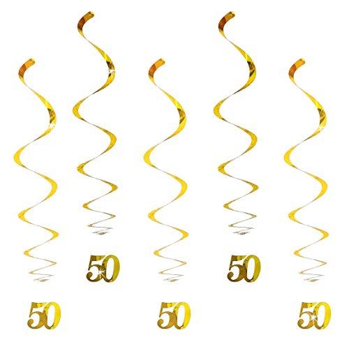 Oblique Unique® Hänge-Deko Geburtstag 50 Jahre Gold - mit Bänder und Ösen 5er Pack