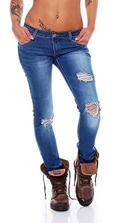 4181 Fashion4Young Damen Röhrenjeans Jeans Hose Stretch-Denim Schmal Skinny Knackig enge Röhre Jeans (XS=34, Dunkelblau)