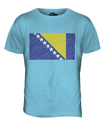 CandyMix Bosnien Und Herzegowina Kritzelte Flagge Herren T Shirt Himmelblau