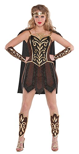 Kostüm Römische Kriegerin (Damen Xena Kriegerin Prinzessin Damenkostüm Römischer Gladiator Kostüm Outfit - Braun,)